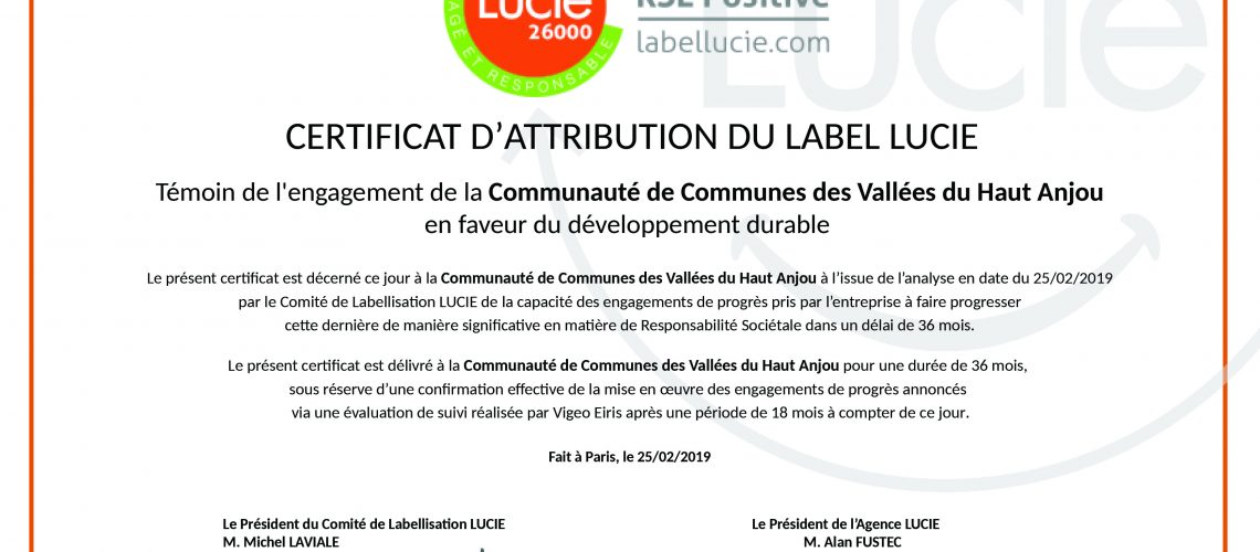 Certificat d'attribution CCHVA