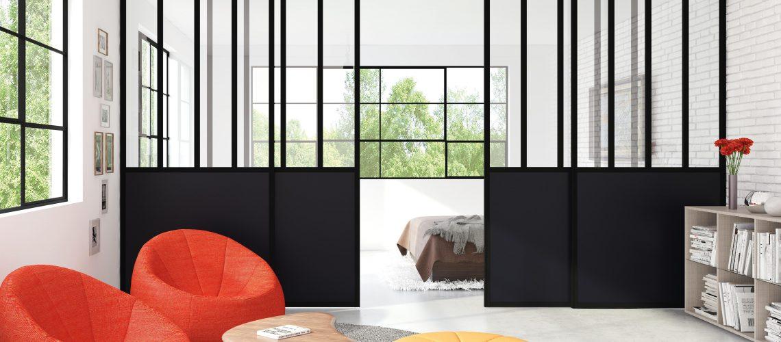 Une cloison vitrée